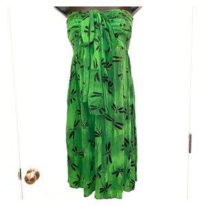 Hula Hawai'i Green Strapless Dress Dragonflies